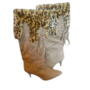 Knee High Faux Fur Heeled Boots 9 Wide
